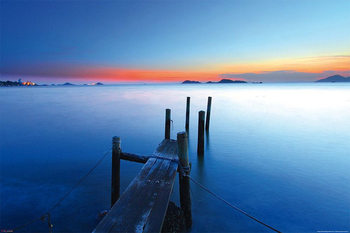 Wooden Landing Jetty - Sunset on the Sea Poster