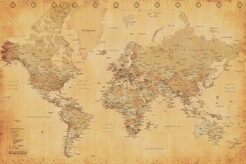 Poster World Map - Antique Style