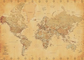 World Map - Antique Style Poster, Art Print