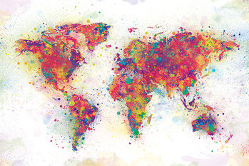 Poster World Map - Colour Splash