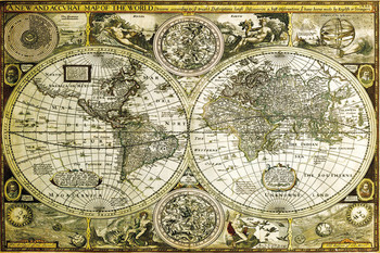 World Map - Historical Poster, Art Print