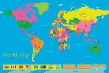 Poster World map - population of children
