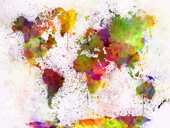World Map - Watercolour Poster