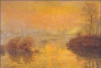 Západ slunce nad Seinou v Lavacourt Art Print
