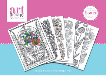 Posters para colorir Art Therapy - Flower