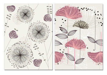 Art - Sketch of Flowers Mounted Art Print