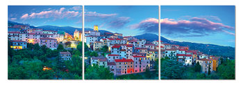 Blue sky above the town Mounted Art Print