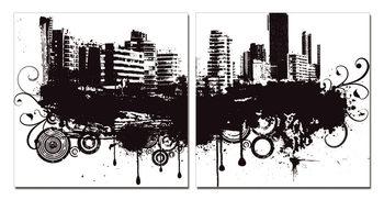 Modern Design - City in Clouds Mounted Art Print