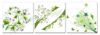 Modern Design - Green Flowers Mounted Art Print