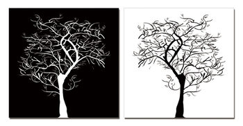 Modern Design - Tree Silhouettes Mounted Art Print