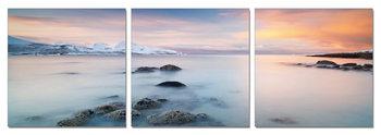Sunrise over the coast Mounted Art Print