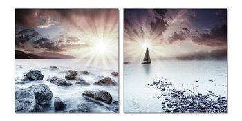 Sunset over coast Mounted Art Print