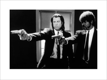 Pulp Fiction - guns b&w  Reproduction