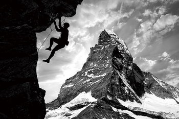 Quadro em vidro Be Brave - Climb the Mountain