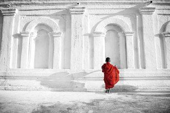 Quadro em vidro Buddhist Boy b&w
