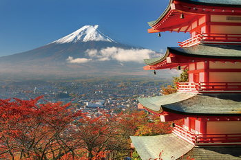 Quadro em vidro Fuji Mountain - Red House