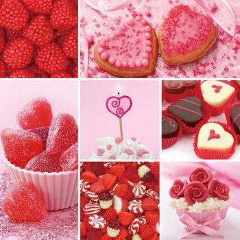 Quadro em vidro Hearts - Red