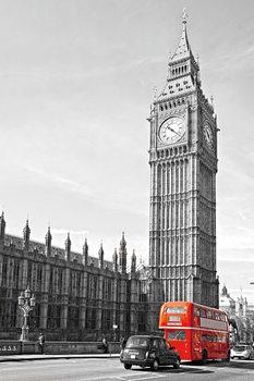 Quadro em vidro London - Big Ben and Red Bus