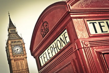 Quadro em vidro London - Big Ben and Red Telephone Box