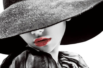 Quadro em vidro Passionate Woman - Hat b&w