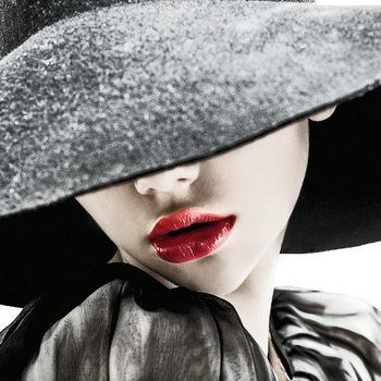 Quadro em vidro Passionate Woman - Hat