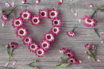 Quadro em vidro Pink Heart made of Flowers