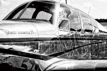 Quadro em vidro Plane - Black and White