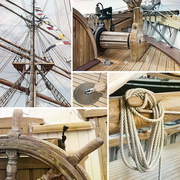 Quadro em vidro Sailing Boat - Collage 1