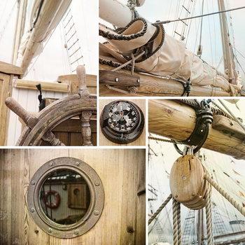 Quadro em vidro Sailing Boat - Collage 2