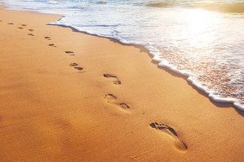 Quadro em vidro Sea - Footsteps in the Sand