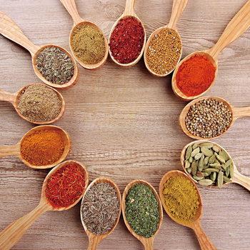 Quadro em vidro Spoons with Spices