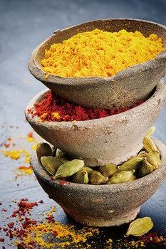 Quadro em vidro  Zen - Bowls with Spices Standing