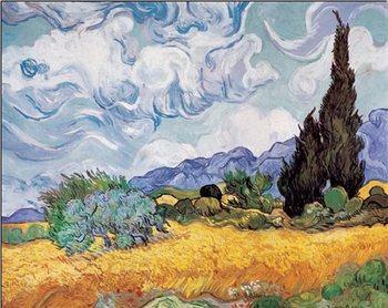Reprodução do quadro A Wheatfield with Cypresses, 1889