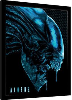 Aliens - Head Blue Poster Emoldurado