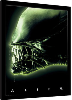 Aliens - Head Green Poster Emoldurado