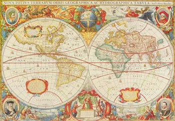 Reprodução do quadro Antique Map Of The World