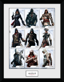 Assassins Creed - Compilation Characters Poster Emoldurado