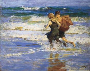 Reprodução do quadro  At The Beach