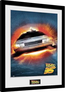 Back To The Future - 35th Delorean Poster Emoldurado