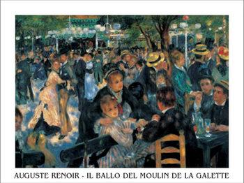 Reprodução do quadro  Bal du moulin de la Galette - Dance at Le moulin de la Galette, 1876