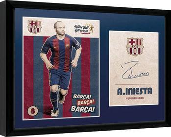 Barcelona - Iniesta Vintage 16/17 Poster Emoldurado