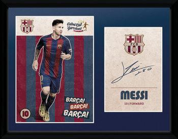 Barcelona - Messi Vintage 16/17 Poster Emoldurado