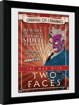Batman Comic - Circus Two Face Poster Emoldurado
