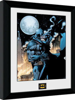 Batman Comic - Moonlit Kiss Poster Emoldurado