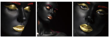 Quadro Black makeup - golden lips