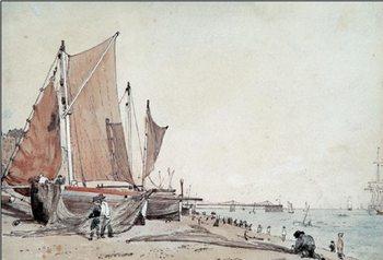 Reprodução do quadro Boat on the Brighton Beach
