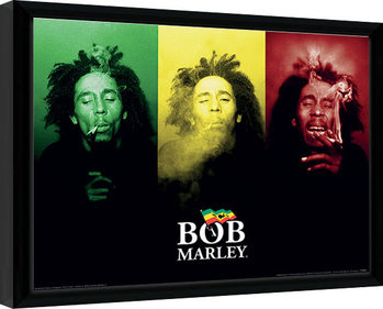 Bob Marley - Tricolour Smoke Poster Emoldurado