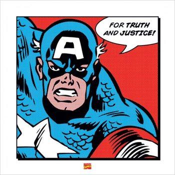 Reprodução do quadro Captain America - For Truth and Justice
