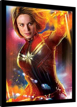 Captain Marvel - Glow Poster Emoldurado