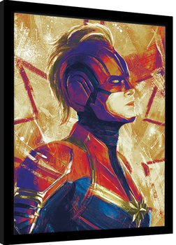 Captain Marvel - Paint Poster Emoldurado